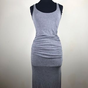 Gray & Black Rouched Side Racer Back Maxi Dress